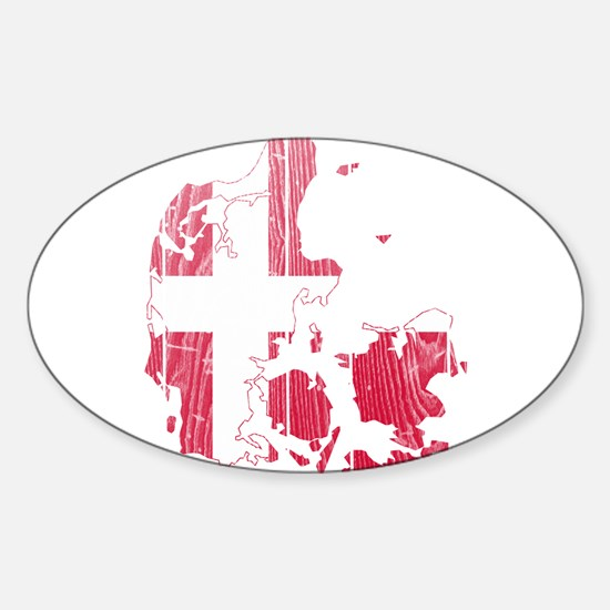 Denmark Flag And Map Sticker (Oval)