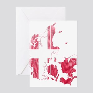 Denmark Flag And Map Greeting Card