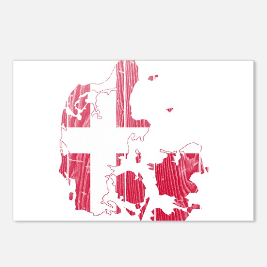 Denmark Flag And Map Postcards (Package of 8)