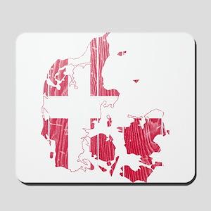 Denmark Flag And Map Mousepad
