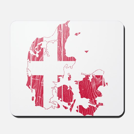 Denmark Flag And Map Mousepad