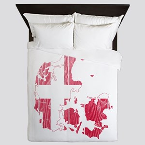 Denmark Flag And Map Queen Duvet