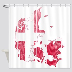 Denmark Flag And Map Shower Curtain