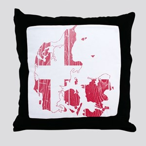Denmark Flag And Map Throw Pillow