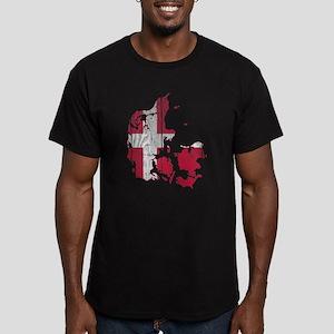Denmark Flag And Map Men's Fitted T-Shirt (dark)