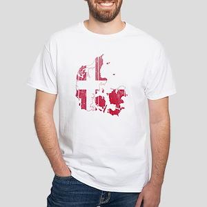 Denmark Flag And Map White T-Shirt