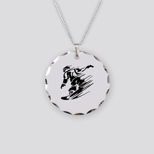 Snowboarding Necklace Circle Charm