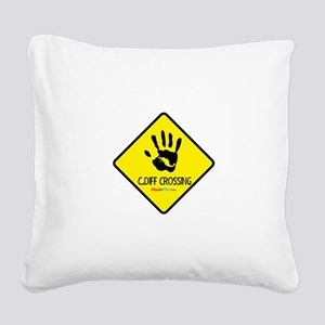 C. Diff Crossing Sign 02 Square Canvas Pillow