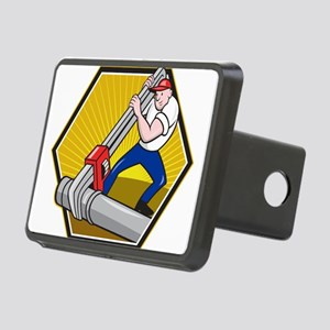 Plumber Worker With Adjustable Wrench Cartoon Rect