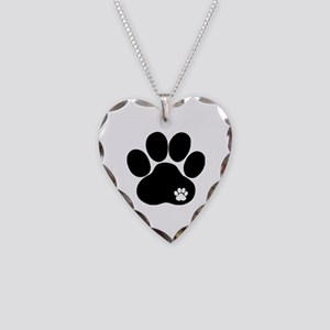 Double Paw Necklace Heart Charm
