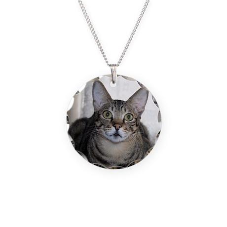 Savanna Cat Portrait Necklace Circle Charm