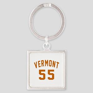 Vermont 55 Birthday Designs Square Keychain