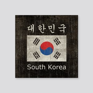 "Vintage South Korea Flag Square Sticker 3"" x 3"""