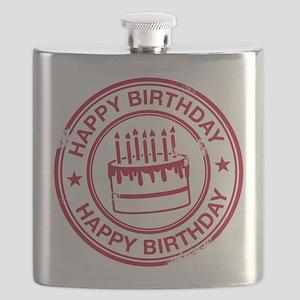 Happy Birthday Cake Red Flask