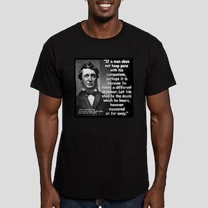Thoreau Drummer Quote 2 Men's Fitted T-Shirt (dark
