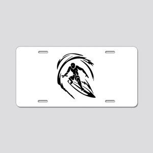 Surfing Aluminum License Plate