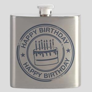 Happy Birthday Cake dark blue Flask