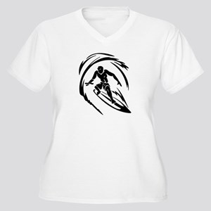 Surfing Women's Plus Size V-Neck T-Shirt
