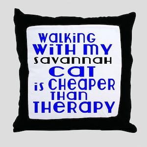 Walking With My savannah Cat Throw Pillow