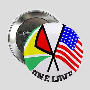 "One Love - Guyana/American flag t-shirt 2.25"" Butt"