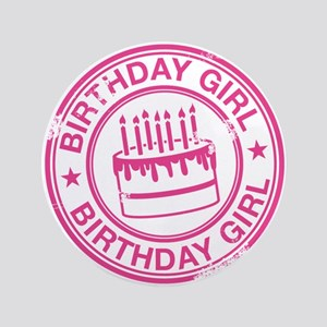 "Birthday Girl Hot Pink 3.5"" Button"