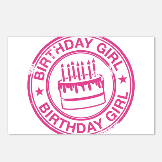 Birthday Girl Hot Pink Postcards (Package of 8)