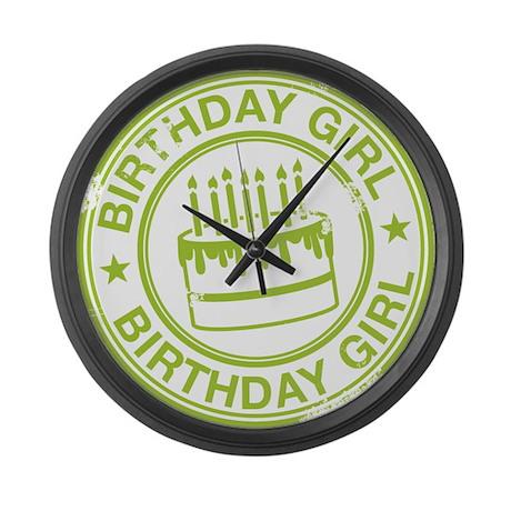 Birthday Girl Green Large Wall Clock