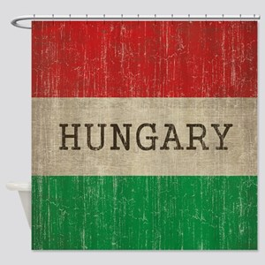 Vintage Hungary Flag Shower Curtain