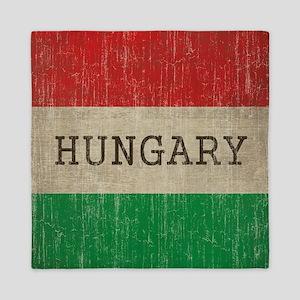 Vintage Hungary Flag Queen Duvet