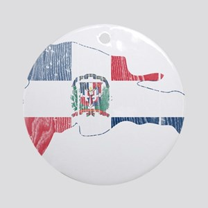 Dominican Republic Flag And Map Ornament (Round)