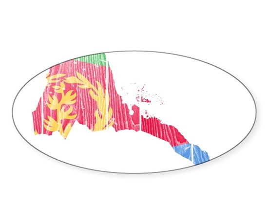 Eritrea flag and map sticker oval