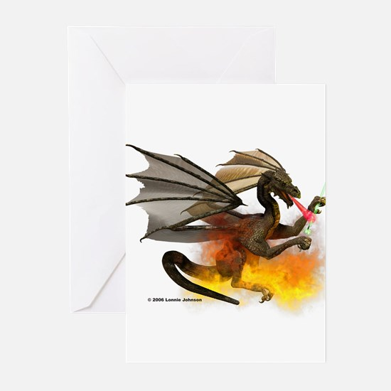 Dragon Lampworker - Side View Greeting Cards (Pack