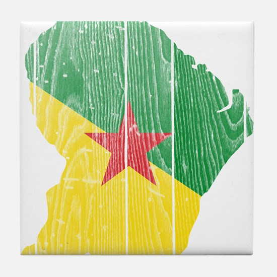 French Guiana Flag And Map Tile Coaster