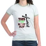 This is where I am Right Now Jr. Ringer T-Shirt