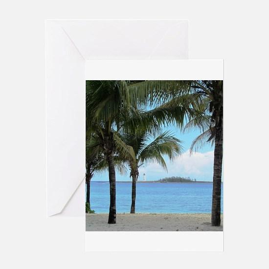 Nassau Bahamas Palms and Lighthouse Greeting Card