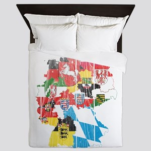 Germany Subdivision Flag And Map Queen Duvet