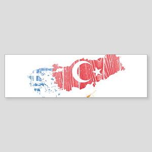 Greece Turkey Cyprus Flag And Map Sticker (Bumper)