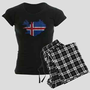 Iceland Flag And Map Women's Dark Pajamas