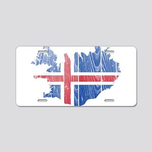 Iceland Flag And Map Aluminum License Plate
