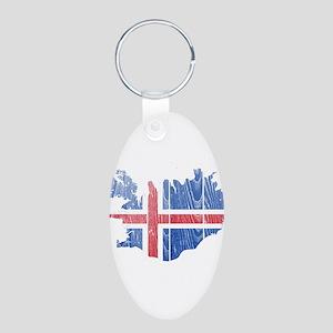 Iceland Flag And Map Aluminum Oval Keychain