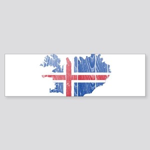 Iceland Flag And Map Sticker (Bumper)