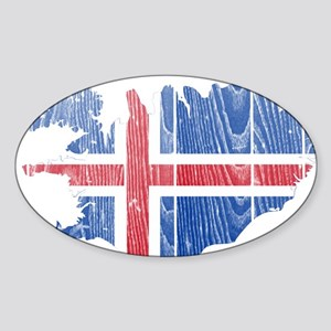 Iceland Flag And Map Sticker (Oval)