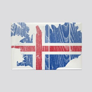 Iceland Flag And Map Rectangle Magnet