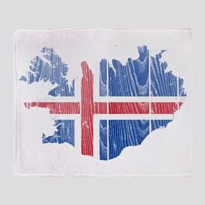Iceland Flag And Map Throw Blanket