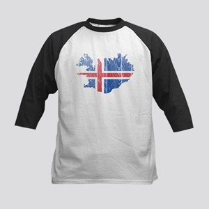 Iceland Flag And Map Kids Baseball Jersey