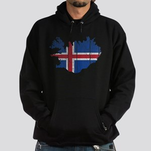 Iceland Flag And Map Hoodie (dark)