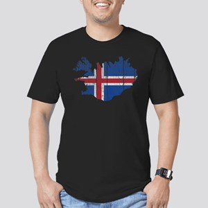 Iceland Flag And Map Men's Fitted T-Shirt (dark)