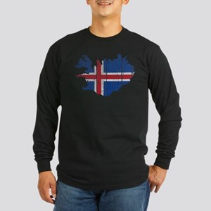Iceland Flag And Map Long Sleeve Dark T-Shirt