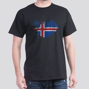 Iceland Flag And Map Dark T-Shirt
