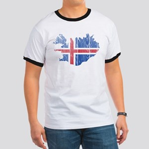 Iceland Flag And Map Ringer T